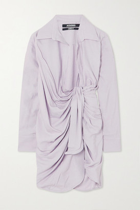 Jacquemus Bahia Draped Twill Mini Wrap Dress - Lilac