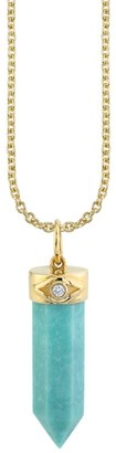 Sydney Evan 14K Yellow Gold, Diamond & Turquoise Crystal Point Charm Necklace