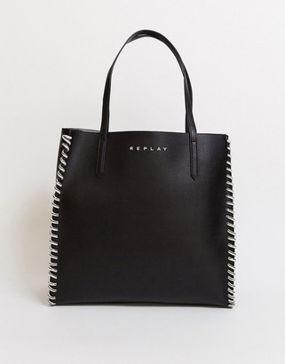 Replay chain detail shopper in black