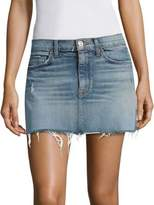 Hudson Distressed Denim Mini Skirt With Frayed Hem