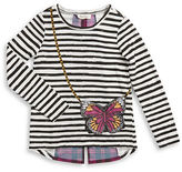 Jessica Simpson Girls 7-16 Striped Butterfly Pocket Long-Sleeve T-Shirt