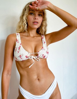 Topshop cropped bikini top in ditsy print