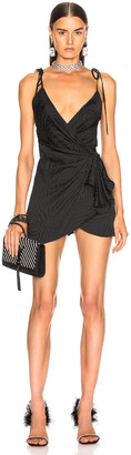 ATTICO Zebra Jacquard Mini Slip Dress in Black | FWRD