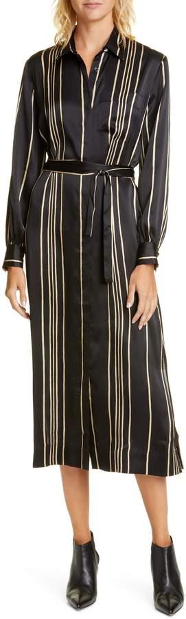 Co Belted Long Sleeve Stripe Silk Shirtdress