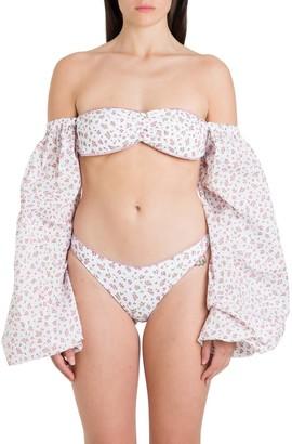 Oseree Puffy Sleeves Printed Bikini