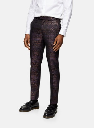 Topman Purple and Black Jacquard Skinny Fit Suit Trousers