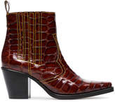 Ganni Brown Rosette 75 patent leather cowboy boots