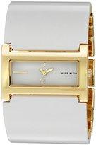 Anne Klein Women's Quartz Metal and Leather Dress Watch, Color:White (Model: AK/2156MPWT)