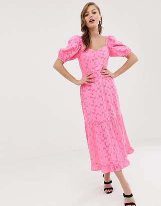 Asos Design DESIGN neon broderie midi dress with sweetheart neckline and puff sleeves-Pink