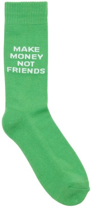 Make Money Not Friends Logo Intarsia Techno Blend Knit Socks
