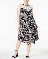 INC International Concepts Plus Size Lace-Yoke Halter Dress, Only at Macy's