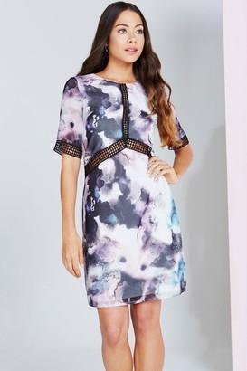 Little Mistress Oil Print Lace Trim Shift Dress