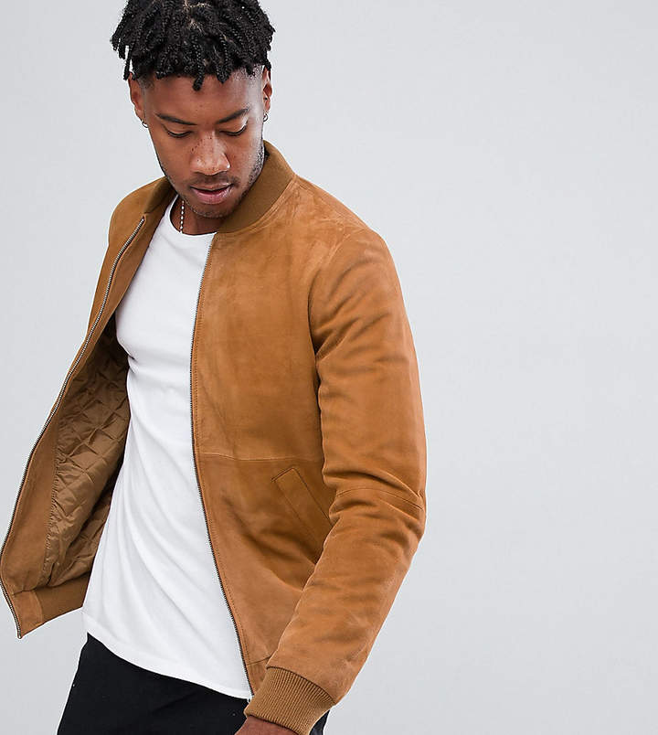 78ee82f3f Design DESIGN tall suede bomber jacket in tan