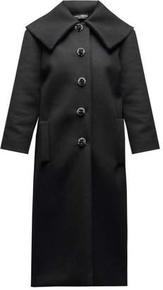 Dolce & Gabbana Crystal Button Single Breasted Wool Coat - Womens - Black