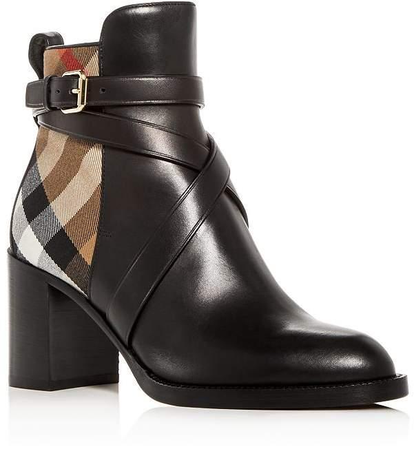 Booties Heel Women's Vaughan Checkamp; Vintage Leather Block 2EDH9I