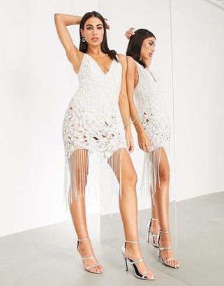 ASOS EDITION sequin cutwork cami midi dress with fringe