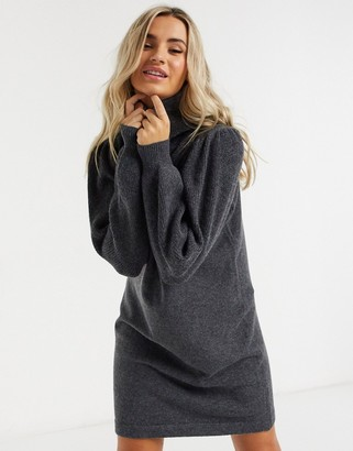 Pieces knitted sweater dress with roll neck in dark gray