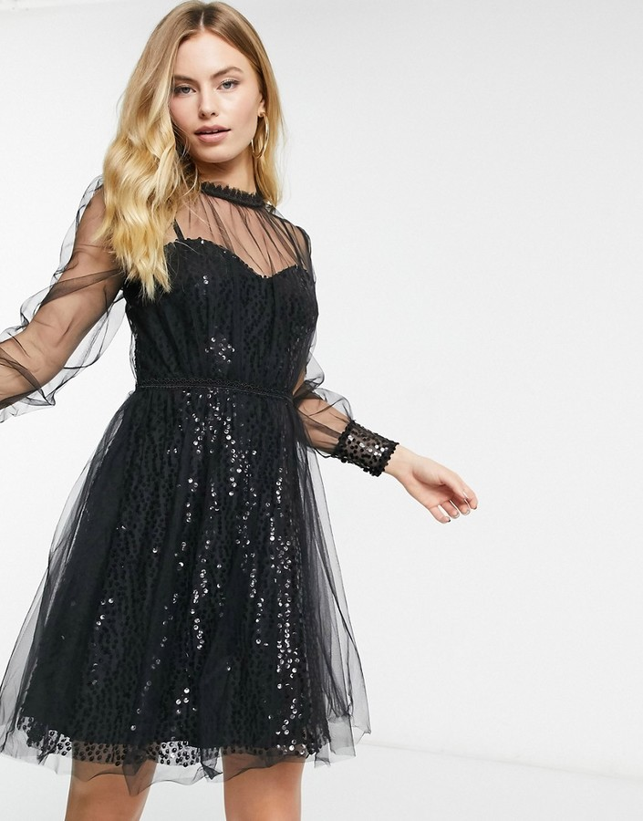 Thumbnail for your product : Forever U mesh top embellished mini dress in black