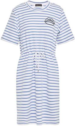 Markus Lupfer Ivy Embroidered Striped Stretch-ponte Mini Dress