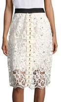 Romance Was Born Queen of the Night Full Moon Silk Blend Laced Skirt