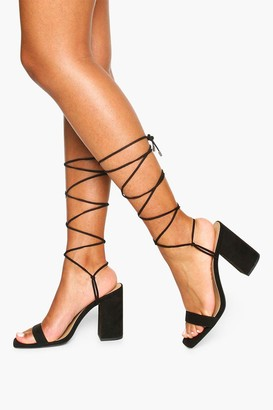 boohoo Tie Up Block Heel Sandals