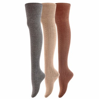 Lovely Annie Women's 3 Pairs Super Soft Incredible Durable Thigh High Cotton Boot Socks A1025 Size 2-6(Coffee Beige Dark Grey)