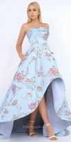 Mac Duggal Strapless A-Line Brocade High Low Evening Dress