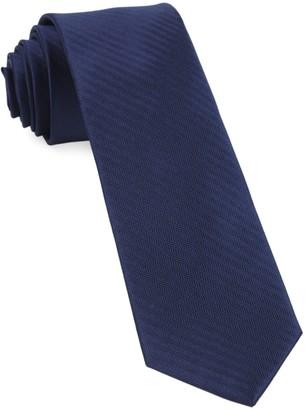 Tie Bar Sound Wave Herringbone Navy Tie