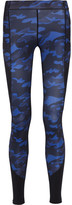 Ivy Park Mesh-paneled Camouflage-print Stretch-jersey Leggings - Navy