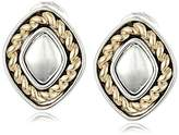 """Napier """"Texture Play"""" Two-Tone Button Clip-On Earrings"""
