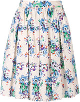 MSGM pleated floral skirt - women - Cotton - 38
