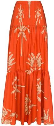 Johanna Ortiz Powerful Rhythm feather-print cotton maxi skirt
