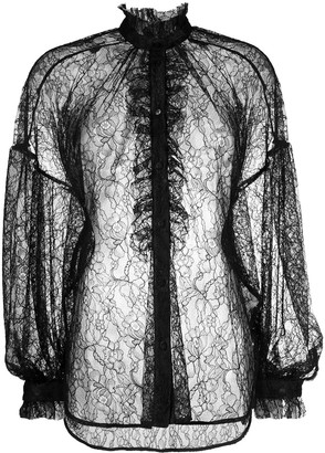MSGM Ruffled Floral Lace Blouse