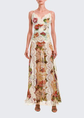 Dolce & Gabbana Lace-Trim Floral Print Satin Dress