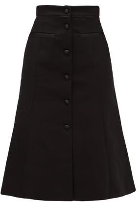 Françoise Francoise - High-rise Cotton-blend Midi Skirt - Womens - Black