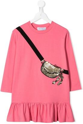 Simonetta sequin-embellished bag-print dress