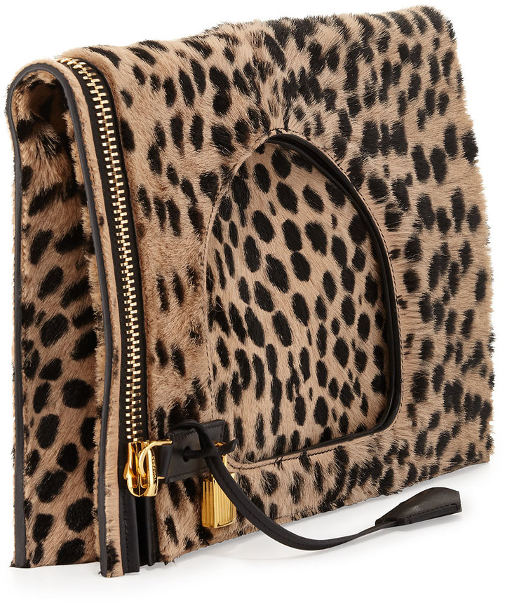 Tom Ford Alix Calf Hair Padlock & Zip Shoulder Bag, Cheetah