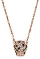 """Bloomingdale's Diamond and Tsavorite Jaguar Pendant Necklace in 14K Rose Gold, 18"""""""