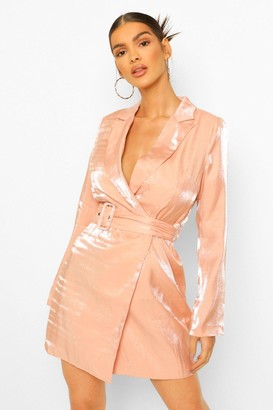 boohoo Metallic Satin Self Belt Blazer Dress