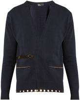 Kolor Embellished-hem belted cotton cardigan