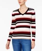 Karen Scott Petite Cotton Striped Sweater, Created for Macy's