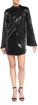 RtA Ariana Sequined Flare-Sleeve Cocktail Dress