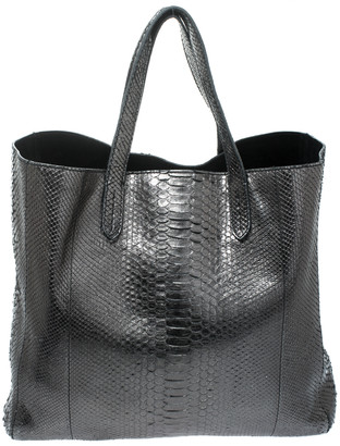 Ralph Lauren Metallic Python Effect Leather Tote