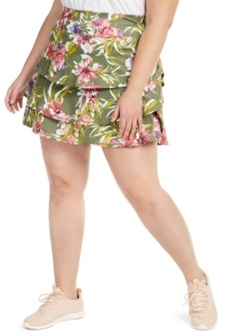 Ideology Plus Size Floral-Print Ruffled Skort, Created For Macy's