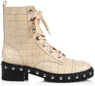 Schutz Andrea Croc-Embossed Leather Combat Boots