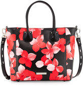 Charles Jourdan Petra Floral-Print Leather Tote Bag, Red/Black