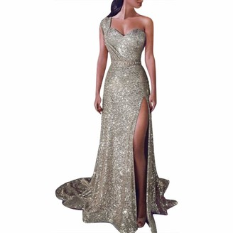 iHAZA Women Sequin Prom Party Ball Gown Sexy Gold Evening Bridesmaid V Neck Long Dress Champagne