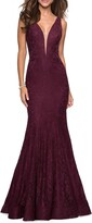 La Femme Plunge Neck Lace Evening Dress with Train