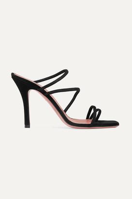 Amina Muaddi Naima Suede Sandals - Black