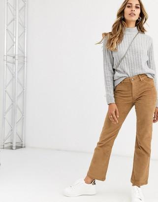 Vero Moda cord straight leg trousers in tan